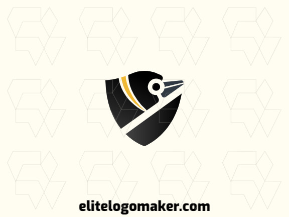 Professional logo in the shape of a penguin combined with a shield, with creative design and abstract style.