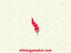 Create your own logo in the shape of pepper combined with a feather, with abstract style with green and red colors.