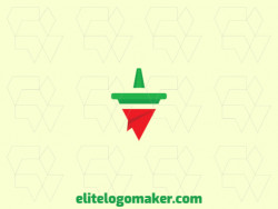 Stylized logo in the shape of a pepper combined with a paper airplane with red and green colors.
