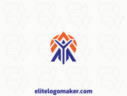 Simple logo composed of abstract shapes, forming a person combined with a map, with blue and orange colors.
