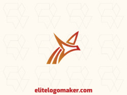 Minimalist logo design in the shape of a flying phoenix composed of simples shapes with red and orange colors.