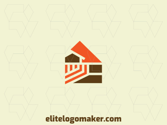 Abstract logo design with the shape of a house combined with a phoenix with orange and brown colors.