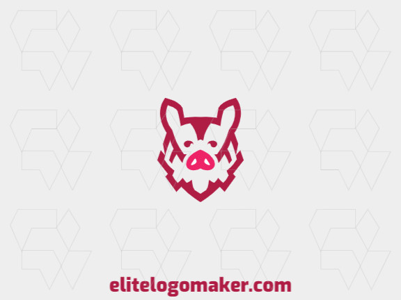 Mascot logo template in the shape of a pig's head composed of abstracts shapes and refined design with pink color.