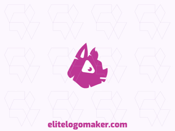Childish logo with solid shapes, forming a pig with a refined design and pink color.