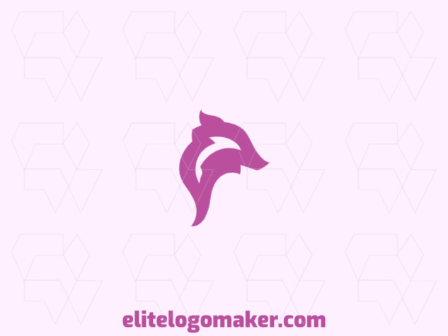 Vector logo in the shape of a pig, with a minimalist style and pink color.