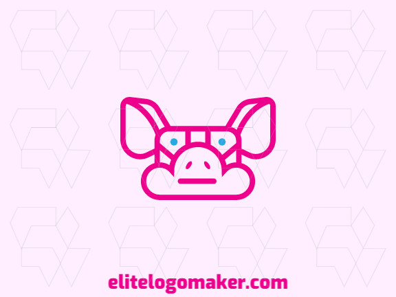 Animal logo design in the shape of a pig head and a cloud with blue and pink colors.