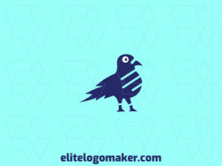 Animal logo with the shape of a pigeon with abstract style with blue and white colors.