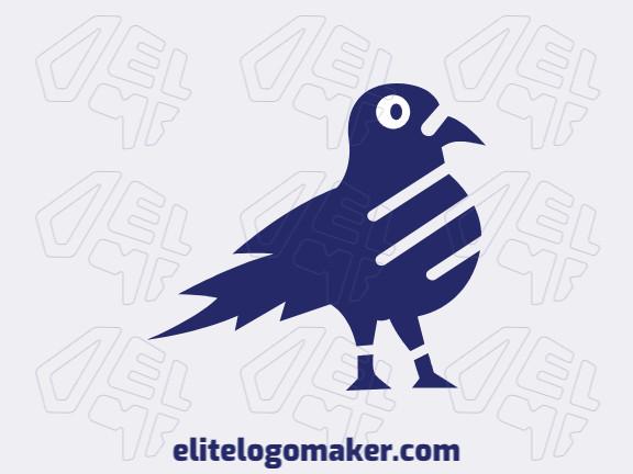 Logotipo criado com estilo minimalista formando um pombo com a cor azul.