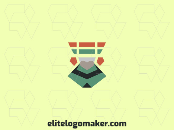 Stylized logo in the shape of a pigeon head combined with abstracts shapes with green, orange, gray and black colors.
