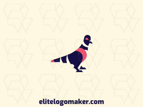 Animal logo in the shape of a pigeon with blue and orange colors, this logo is ideal for various types of business.