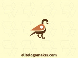 Animal logo with the shape of a sparrow combined with a map icon composed of abstracts shapes with brown and orange colors.