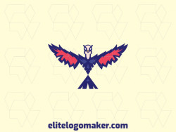 Simple logo composed of abstract shapes forming a pigeon with blue, red, and beige colors.
