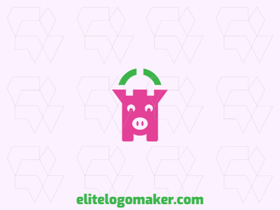 Animal company logo with the shape of a pig combined with a castle with pink and green colors.