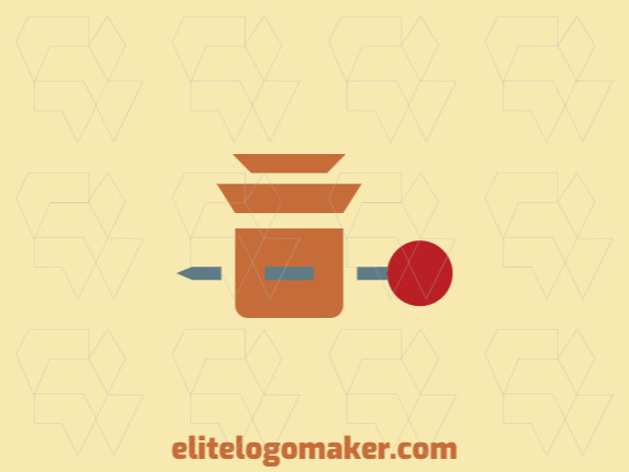 Minimalist logo in the shape of a pin combined with a box composed of abstract elements with brown, gray, and red colors.