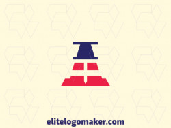Minimalist logo created with abstract shapes forming a pin combined with a cone, with blue and red colors.