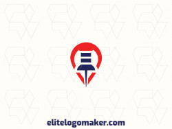 Create a logo for your company in the shape of a pin combined with a map with an abstract style.
