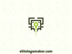 Vector logo in the shape of a pin, with abstract style with green and blue colors.