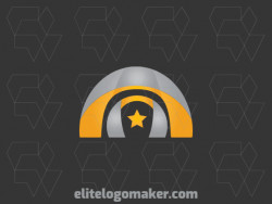 Gradient logo design consists of the combination of a temple with a shape of a star with gray and yellow colors.