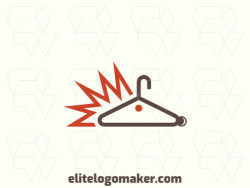 Animal logo design in the shape of a porcupine combined with a hanger with brown and orange colors.
