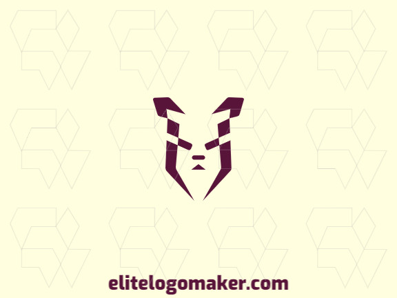 Simple animal logo with the shape of a puppy head with purple and green colors.
