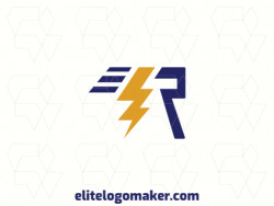 "Modern logo in the shape of a letter ""R"" combined with a lightning bolt, with professional design and abstract style."