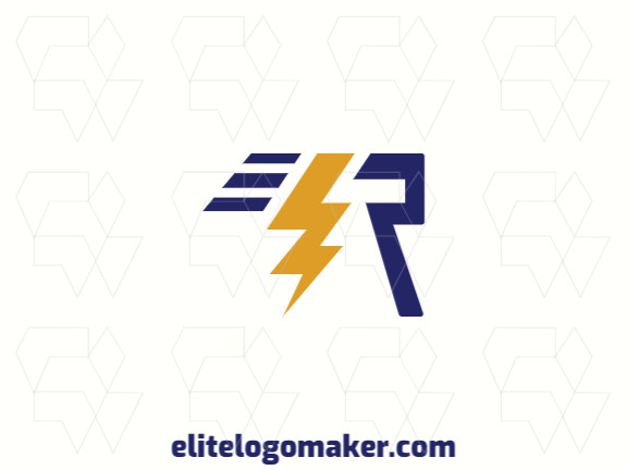 """Modern logo in the shape of a letter """"R"""" combined with a lightning bolt, with professional design and abstract style."""