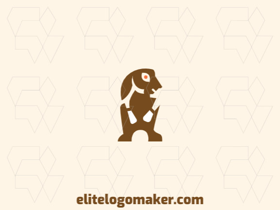 Abstract logo design with the shape of a rabbit with big ears with brown and yellow colors.