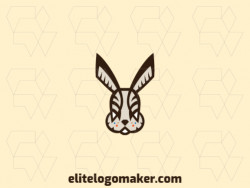 Customizable logo in the shape of a rabbit composed of a symmetric style with blue, brown, orange, and beige colors.