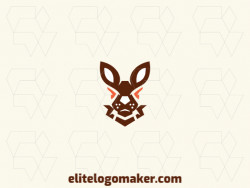 Professional logo in the shape of a rabbit with creative design and abstract style.