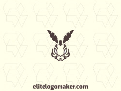 Customizable logo in the shape of a rabbit composed of a symmetric style and brown color.