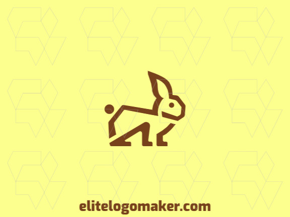 Minimalist logo in the shape of a rabbit on alert composed of simples shapes with brown color.
