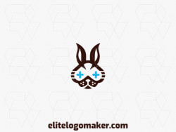 Customizable logo in the shape of a rabbit with an abstract style, the colors used was blue and brown.