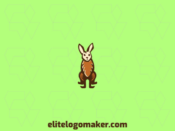 Mascot logo composed of abstract shapes with refined design forming a rabbit with brown and beige colors.