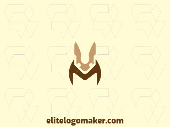 Vector logo in the shape of a rabbit with a minimalist design with brown and beige colors.