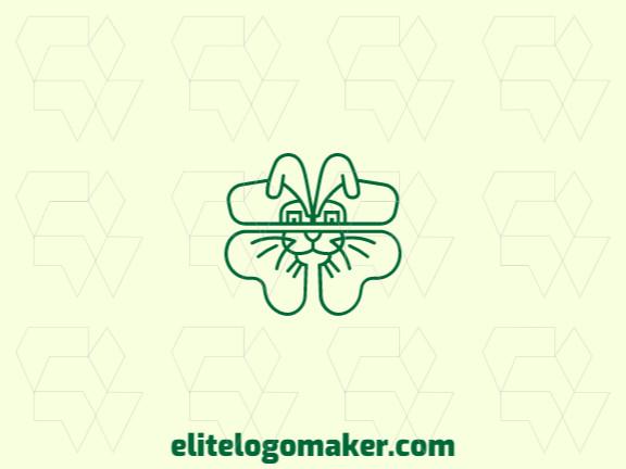 Logotipo monoline criado com formas abstratas formando um coelho mesclado com um trevo com a cor verde.