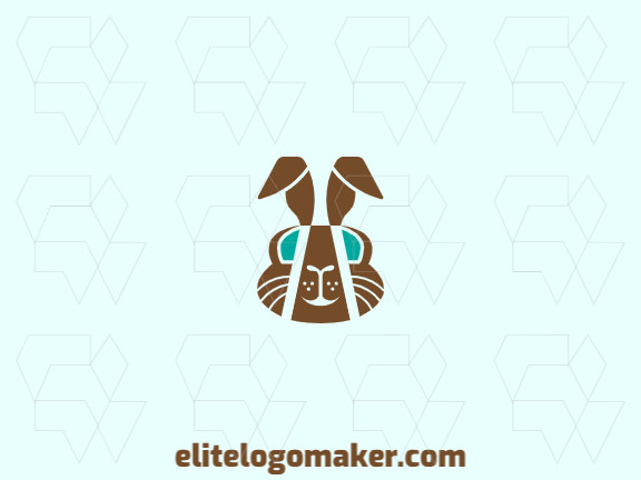 Animal mascot logo with the shape of a rabbit head made up of abstracts shapes with blue and brown colors.