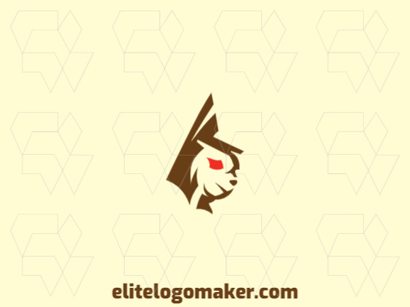 Vector logo in the shape of a rabbit head with an abstract design, with brown and red colors.