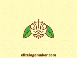 Animal logo in the shape of a rabbit head made up of twigs and leaves with brown and green colors.