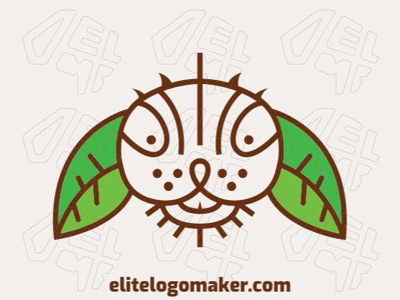 Logotipo abstrato composto por linhas finas formando uma cabeça de coelho combinado com folhas com estilo infantil, as cores utilizadas foi marrom e verde.