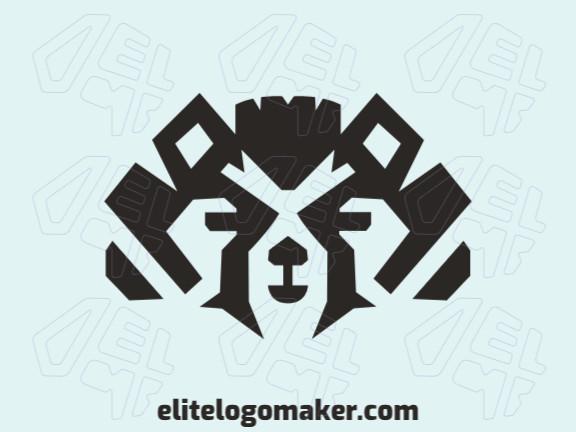 Logotipo elegante com formas abstratas formando uma cabeça de guaxinim com design simétrico e cor preto.