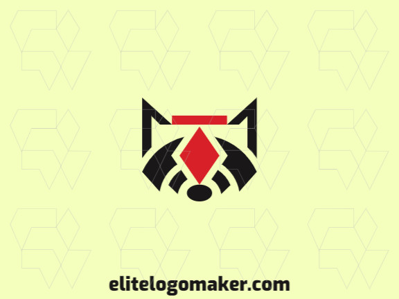 Animal logo design in the shape of a raccoon combined with a suit of diamonds with black and red colors.