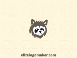 Abstract logo with a refined design forming a raccoon head with black and brown colors.