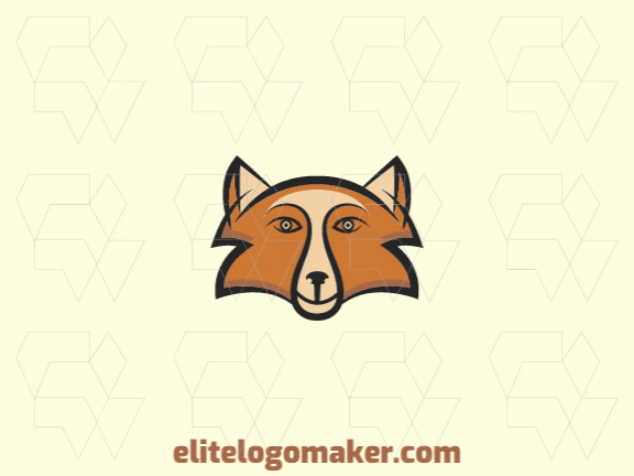 Stylized logo design in the shape of a fox's head composed of abstracts shapes with beige, brown, and black colors.