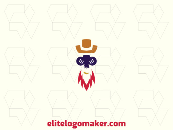 Abstract logo design in the shape of a man with a red beard wearing a hat composed of simples shapes with red, brown, yellow, and blue colors.