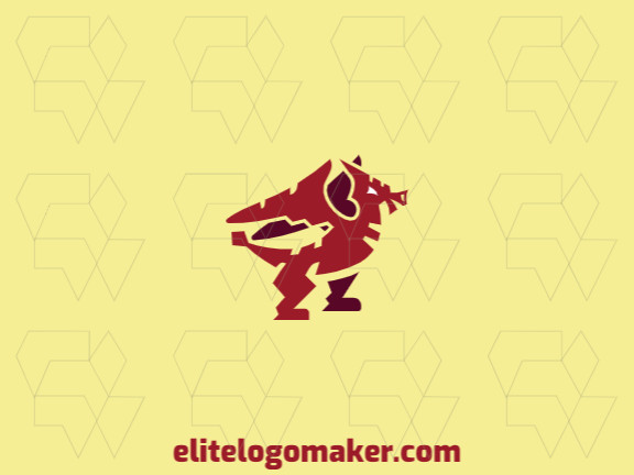 Mascot logo in the shape of a red dragon composed of abstracts shapes and refined design with red color.