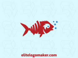 Professional and simple logo in the shape of a fish with an abstract style, the colors used are blue and red.
