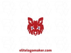 The logo is available for sale in the shape of a red fox, with abstract style, with red and black colors.