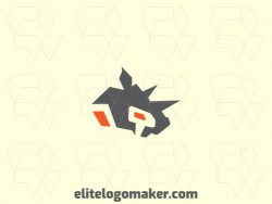 Minimalist logo design with the shape of a rhinoceros head with gray and orange colors, ideal for representing your company.