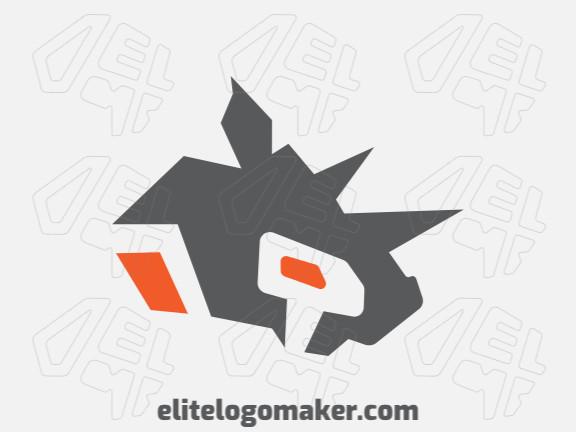 Logotipo criativo com design minimalista formando um rinoceronte com as cores laranja e cinza.