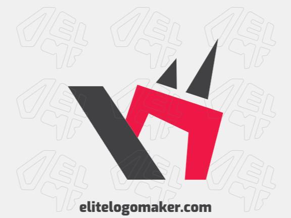"""Logotipo elegante composto por formas simples formando um rinoceronte combinado com uma letra """"n"""" com estilo minimalista, as cores utilizadas foi vermelho e preto."""